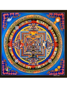 Kalachakra mandala with 4 auspicious symbol in blue