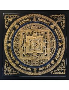 Kalachakra mandala in black and gold