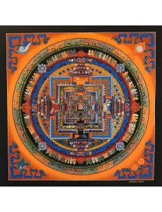 Kalachakra Mandala in Orange with 4 Auspicious Symbol