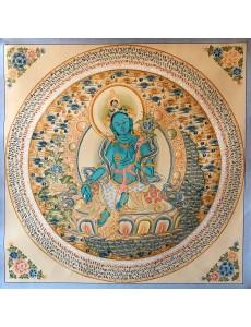 Mantra mandala with green Tara in the center