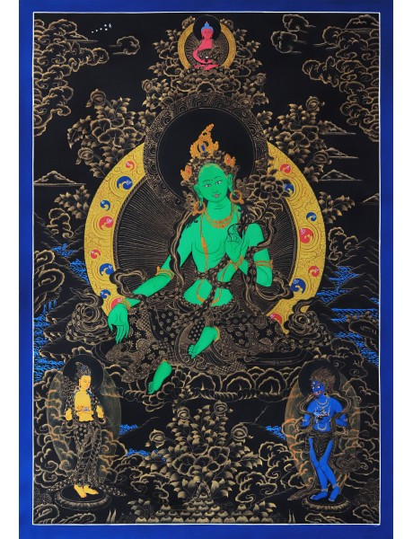 Green Tara ( black and gold)